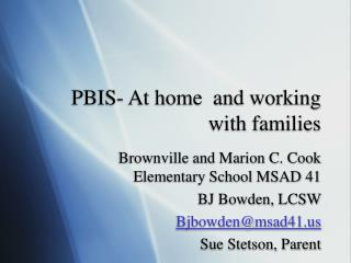PBIS- At home  and working with families