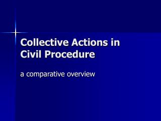 Collective Actions in Civil Procedure