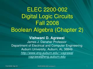 ELEC 2200-002 Digital Logic Circuits Fall 2008 Boolean Algebra Chapter 2