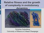 Relative fitness and the growth of complexity in evolutionary dynamics