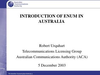 INTRODUCTION OF ENUM IN AUSTRALIA