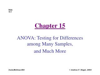 ANOVA: Testing for Differences among Many Samples,  and Much More