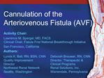 Cannulation of the  Arteriovenous Fistula AVF