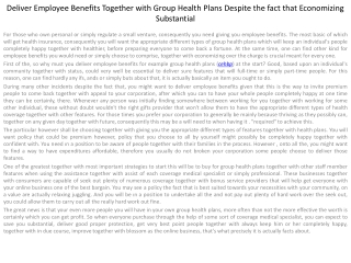Deliver Employee Benefits Together with Group Health Plans D