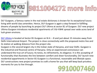 Dlf Ultima,9910007460,Dlf Ultima Gurgaon, Dlf Ultima Sector