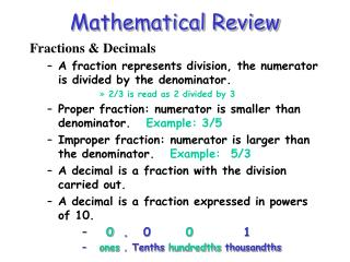 Mathematical Review