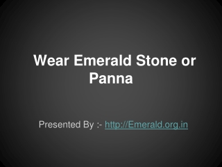 How to wear Emerald Panna Gemstone