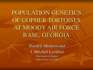 POPULATION GENETICS OF GOPHER TORTOISES AT MOODY AIR FORCE BASE, GEORGIA