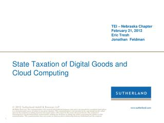 State Taxation of Digital Goods and  Cloud Computing