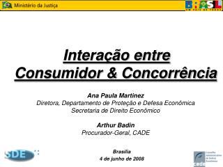 Intera  o entre  Consumidor  Concorr ncia   Ana Paula Martinez Diretora, Departamento de Prote  o e Defesa E