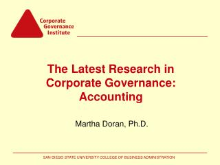 The Latest Research in Corporate Governance: Accounting