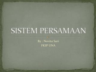 Sistem Persamaan 2 Linear