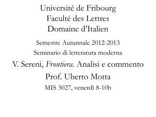 Universit  de Fribourg Facult  des Lettres Domaine d Italien