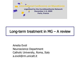 Long-term treatment in MG   A review