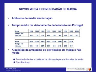 NOVOS MEDIA E COMUNICA  O DE MASSA