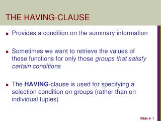THE HAVING-CLAUSE