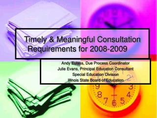 Timely  Meaningful Consultation Requirements for 2008-2009