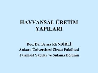 HAYVANSAL  RETIM YAPILARI