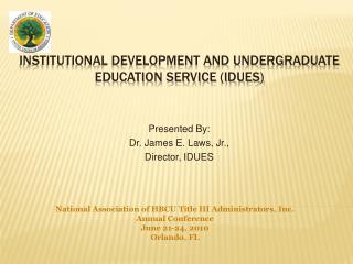 Institutional development and undergraduate education service IDUES