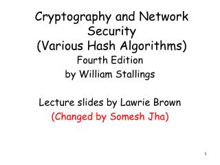 Cryptography and Network Security Various Hash Algorithms