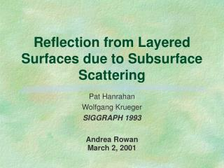Reflection from Layered Surfaces due to Subsurface Scattering