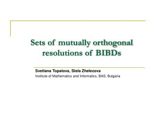 Sets of mutually orthogonal resolutions of BIBDs