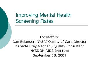 Improving Mental Health Screening Rates