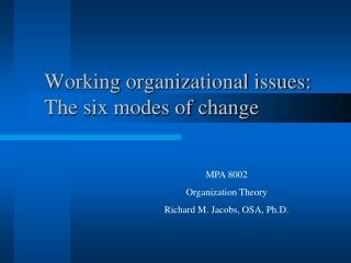 Advanced organization theory