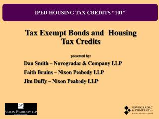 IPED HOUSING TAX CREDITS  101