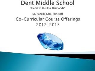 Dent Middle School  Home of the Blue Diamonds   Dr. Randall Gary, Principal