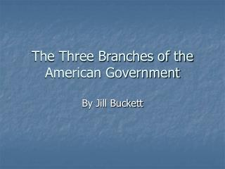 The Three Branches of the American Government