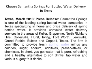 Choose Samantha Springs For Bottled Water Delivery In Texas