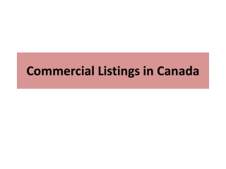 Commercial Listings in Canada