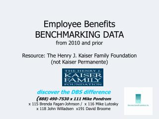 Employee Benefits BENCHMARKING DATA from 2010 and prior  Resource: The Henry J. Kaiser Family Foundation  not Kaiser Per
