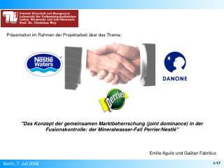 Das Konzept der gemeinsamen Marktbeherrschung joint dominance in der Fusionskontrolle: der Mineralwasser-Fall Perrier