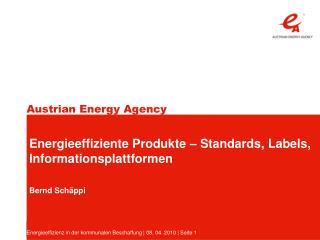 Energieeffizienz in der kommunalen Beschaffung  08. 04. 2010  Seite 1