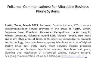 Folkerson Communications: For Affordable Business Phone Syst