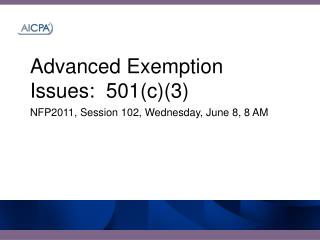 Advanced Exemption Issues:  501c3