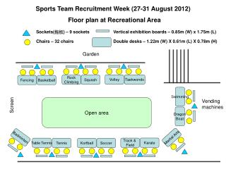 Sports Team Recruitment Week 27-31 August 2012  Floor plan at Recreational Area