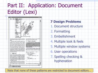 Part II:  Application: Document Editor Lexi