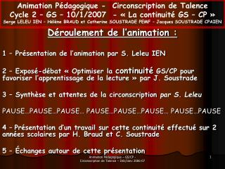 D roulement de l animation :  1   Pr sentation de l animation par S. Leleu IEN  2   Expos -d bat   Optimiser la continui