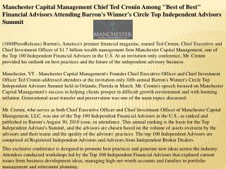 Manchester Capital Management Chief Ted Cronin Among Best o