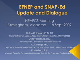 EFNEP and SNAP-Ed Update and Dialogue
