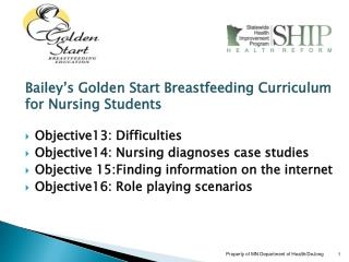 Bailey s Golden Start Breastfeeding Curriculum for Nursing Students  Objective13: Difficulties Objective14: Nursing diag