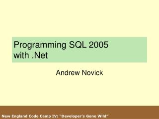 Programming SQL 2005  with .Net