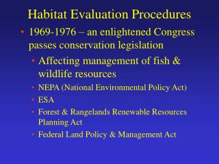 Habitat Evaluation Procedures