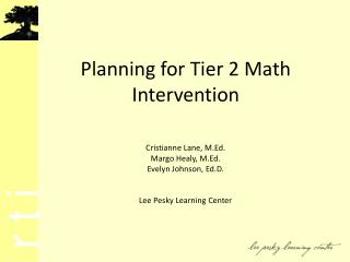 Planning for Tier 2 Math Intervention