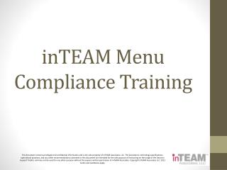 InTEAM Menu Compliance Training