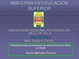 MAESTRIA EN EDUCACION SUPERIOR