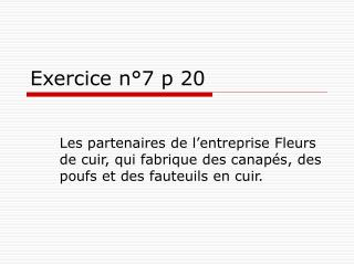 Exercice n 7 p 20